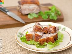 Easy recipe for Chinese-style crispy roast pork belly with crackling skin.