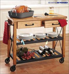 Hosting for the holidays? This rustic-inspired industrial kitchen cart not only provides a solution for small spaces but is an instant style upgrade to any kitchen's décor. From appetizers to desserts, it's the perfect way to display all of your holiday food.