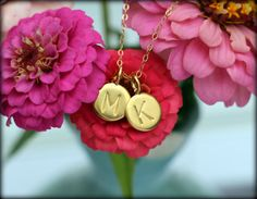 Gold/Vermeil Custom Hand Stamped Dainty Initial necklace by Simply Charmed Initial Necklace, Hand Stamped, Initials, Charmed, Trending Outfits, Unique Jewelry, Handmade Gifts, Earrings, Shop