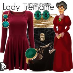 Lady Tremaine by leslieakay on Polyvore featuring Qupid, 7 Chi, YooLa, Janna Conner Designs, Swarovski, Monet, disney, disneybound and disneycharacter