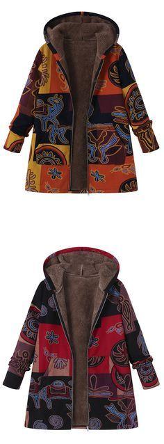 O-NEWE Printed Hooded Pockets Coats For Women #fashion #style #coat #jacket #winter