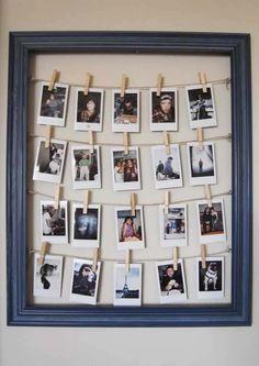 DIY Framed Clothesline Photo Display