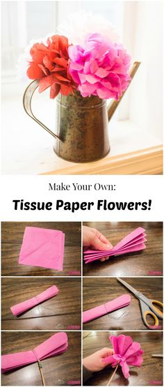 DIY Tissue Paper Flowers. These are perfect for Weddings, Showers, Valentine's Day, Spring decor, etc. Cheap to make!