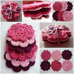 Crochet Flowers Design Coaster pattern in crochet ( translation of directions available ). Need to learn how to crochet. Crochet Diy, Crochet Gratis, Crochet Amigurumi, Crochet Motifs, Crochet Dishcloths, Crochet Home, Love Crochet, Crochet Doilies, Crochet Flowers