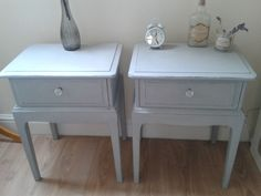 Hand Painted Shabby Chic Bedside Tables Stag Minstrel French Grey & Crystal knob in Home, Furniture & DIY, Furniture, Bedside Tables & Cabinets | eBay