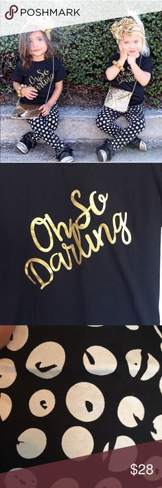 OH SO DARLING OUTFIT  ⚡sale no offers Black t and pants w gold and white   Super cute. Cotton Matching Sets