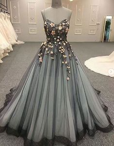 unique tulle lace long prom dress shop here