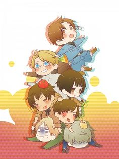 Hetalia Italy, America, Japan, Romano, Spain, England, Prussia, and Gilbird!