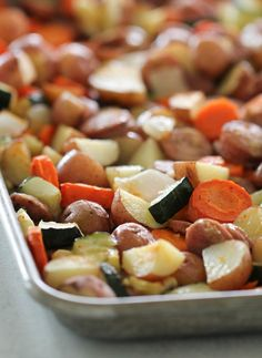 Sheet Pan Chicken Sausage and Vegetables Recipe Sausage And Vegetable Recipe, Chicken Sausage Recipes, Chicken Apple Sausage, Vegetable Recipes, Sausage Meals, Chicken And Vegetables, Roasted Vegetables, Veggies, Healthy Recipes