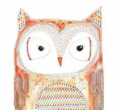 Kids Wall Art, Kids Art,  Hootin Tootin - Owl Print - Limited Edition 8x10 Print by Jennie Deane