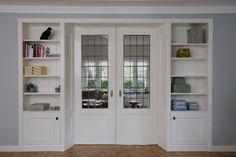 Home Living Room, Living Room Designs, Living Room Decor, Home Design Decor, House Design, Half Wall Kitchen, Room Divider Walls, Bookcase Wall, Laundry Room Design