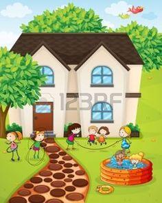 Ilustraci�n de una casa y los ni�os en una hermosa naturaleza photo