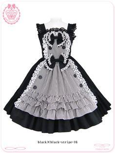 A la Mode Maid's Striped Candy JSK by MAXICIMAM Maid, Cotton, Dresses, Style, Fashion, Vestidos, Swag, Moda, Fashion Styles