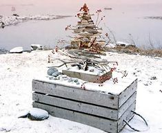 Photo by Sara Gray. A driftwood tree ornamented with overwintered rose hips stands atop a lobster crate that washed ashore the Maine coast Tropical Christmas, Beach Christmas, Coastal Christmas, Beautiful Christmas, White Christmas, Christmas Holidays, Christmas Crafts, Christmas Decorations, Holiday Decor