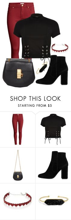 """Black and red"" by kweencupcake08 on Polyvore featuring H&M, River Island, Chloé, MANGO, Simons and BaubleBar"