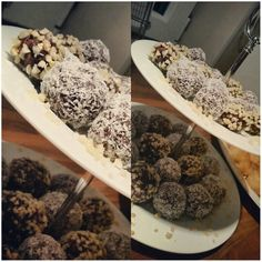 Coconut covered chocolate truffles - a bite of joy..