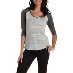 Charlotte Russe Gray Combo Three-Quarter Sleeve Baseball Tee by... (202.020 IDR) ❤ liked on Polyvore