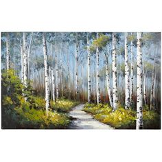 Slender white birches stand in vivid contrast to clusters of delicate yellow blooms on a perfect blue sky. Rich in detail and bold saturated color, this unique, hand-painted acrylic reproduction makes a strong statement. Is it speaking to you?