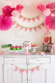 : birthday of Enya {watermelon sweet table} . - G for …: birthday of Enya {watermelon sweet table} … - Birthday Table, Fourth Birthday, Girl First Birthday, First Birthday Parties, Birthday Party Themes, First Birthdays, Birthday Ideas, Rainbow Birthday, Cake Birthday