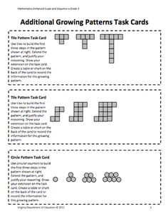 Here's a nice lesson plan and activities on growing patterns. Includes task … Here's a nice lesson plan and activities on growing patterns. Algebra Activities, Math Resources, Teaching Math, Numeracy, Grade 2 Patterning Activities, Math Games, Teaching Patterns, Math Patterns, Number Patterns