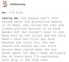I am more of a Brooke/Audrey shipper but Emma/Audrey is cute too. I'm just here for all the gay ships.