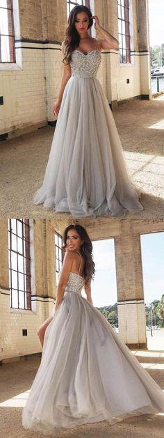 6728f4f08d02 2018 prom dress, sparkly beaded long prom dress, grey long prom dress,  straps