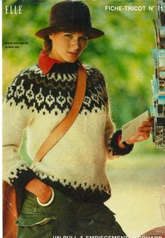 Directement inspiré du pull LOPI islandais - tricot vintage by initials BB Crochet Wool, Crochet Round, Crochet For Beginners, Learn To Crochet, Knitting Patterns Free, Knitwear, Men Sweater, Pullover, Couture