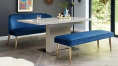 Modern grey gloss extending pedestal dining table and sapphire blue velvet dining bench with backrest set. Small Living Dining, Dining Room Blue, Leather Dining Room Chairs, Living Room Chairs, Compact Table And Chairs, Dining Table With Bench, Pedestal Dining Table, Dining Table Chairs, Velvet Furniture