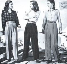 40S women at war....love slacks and love this 40s style when paired with those fitted work shirts, love! #vintage #daywear