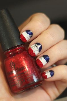 @Lindsey Grande Grande Woody! Another nail idea for you!! Patriotic Nails Tutorial, 4 by tiffanyharvey, via Flickr