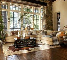 Beams, stone, floor, windows
