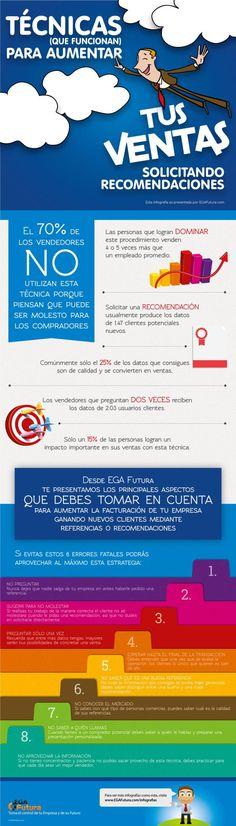 Técnicas para aumentar ventas solicitando recomendaciones #infografia #infographic #marketing