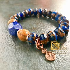 Royal Lapis Mens Bracelet, Gemstone Bracelet, Blue-Copper Bracelet