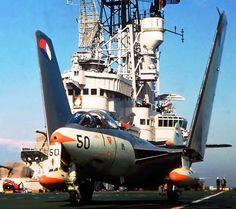 "british-eevee: ""Royal Netherlands Navy Hawker Sea Hawk on the HNLMS Karel Doorman, 1959 "" Aircraft Parts, Ww2 Aircraft, Military Jets, Military Aircraft, Fighter Pilot, Fighter Jets, War Jet, Navy Aircraft Carrier, Airplane Fighter"