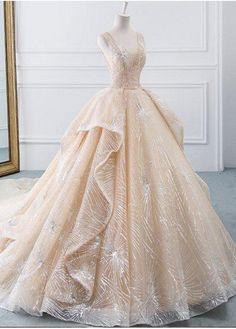Champagne Ball Gown V-neck Tulle Sequins Bling Bling Wedding Dress Wit – kemedress Bridal Gowns, Wedding Gowns, Bling Wedding, Wedding Shoes, Quince Dresses, Formal Dresses, Prom Dresses, Evening Dresses, Elegant Dresses