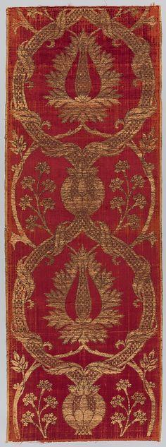 16th century ~ Turkey ~ Islamic ~ Silk, metal wrapped thread; cut and voided velvet, brocaded