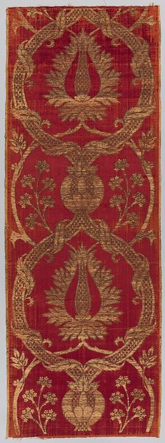 Panel  Date:     16th century Geography:     Turkey Culture:     Islamic Medium:     Silk, metal wrapped thread; cut and voided velvet, brocaded Dimensions:     Textile a: H. 73 in. (185.4 cm) W. 26 in. (66 cm) Textile b: H. 73 1/2 in. (186.7 cm) W. 26 in. (66 cm) Classification:     Textiles