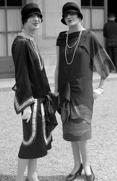 1920s fashions - These dresses look moderate - even very conservative to us now, but back then, it was only a few years earlier that only a woman's ankle showed...