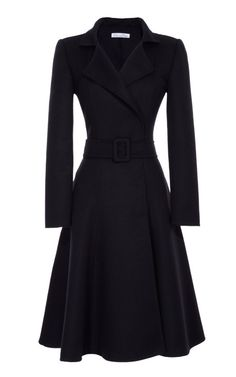Belted Full-Skirted Coat by Oscar de la Renta