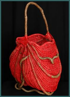Scarlett Red basket style by basket weaver Tina Puckett made from bittersweet and red reed Red Basket, Basket Bag, Paper Basket, Large Baskets, Wicker Baskets, Woven Baskets, Crochet Baskets, Making Baskets, Textiles