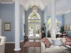 Blue foyer, entry - dining and living - periwinkle - Use of Color - Pelican Bay - Naples