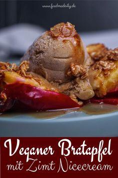 Bratapfel mit Zimt Nicecream - veganes Dessert an Weihnachten! Super einfach zu machen! #bratapfel #weihnachten #zimt #nicecream #dessert #einfach