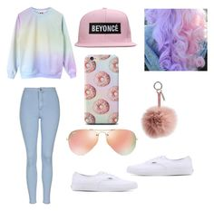 """""""Back at it again with the white vans"""" by chanel82974 ❤ liked on Polyvore featuring Topshop, Ray-Ban, Fendi and Vans"""