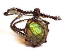 $43   boho LABRADORITE macrame Necklace shaman healing by EarthCultured  From EarthCultured on Etsy