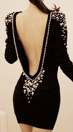 V-back Pearls Dress