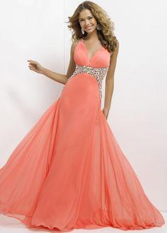 Coral Pleated Deep V Neck Jewels Drape Long Prom Dress