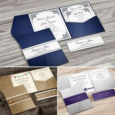 Invitations & Stationery Pocket-Fold Wedding Invitations With Rsvp And Info Cards + Free Envelopes & Garden Ivory Wedding Invitations, Personalised Wedding Invitations, Wedding Invitation Cards, Wedding Programs, Wedding Stationery, Wedding Cards, Diy Wedding, Invites, Wedding Party Songs