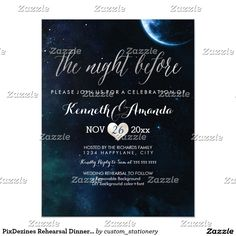 Dîner de répétition de PixDezines/nuit/cosmique Carton D'invitation 10,79 Cm X 13,97 Cm