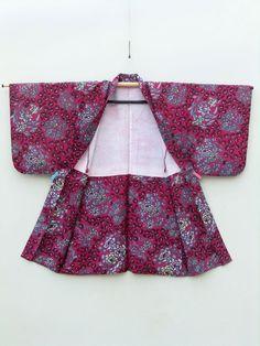 ☆ New Arrival ☆ 'Confetti' #women's #magenta #vintage #silk #Japanese #haori #kimonojacket #floral motif #pattern from #FujiKimono http://www.fujikimono.co.uk/fabric-japanese/confetti.html #kimono #textile #costume #kawaii #cosplay #fashion #summer