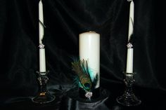 Unity Candle with Peacock Feather and by SouthernBellWeddings, $27.50